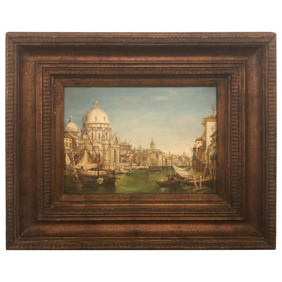 Busy City River Port Scene Oil on Panel in a Custom Wooden Frame