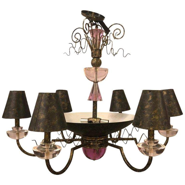 1960s Hollywood Regency Style Iron and Lucite Chandelier
