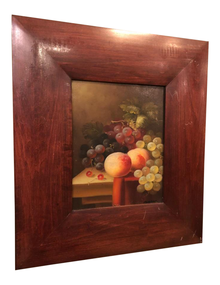 1980s Oil on Canvas Fruits on Table Still Life Painting