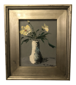 1980s Still Life with White Flowers & Vase Oil on Canvas Framed Painting