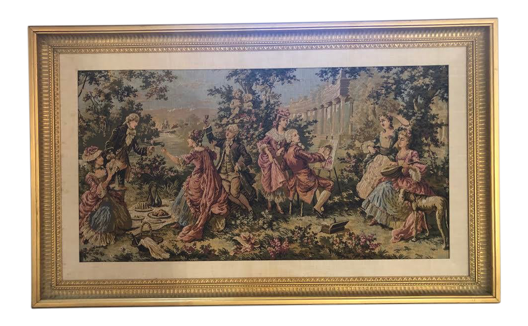 1990s Gobelin French Style Custom Gilt Framed Tapestry