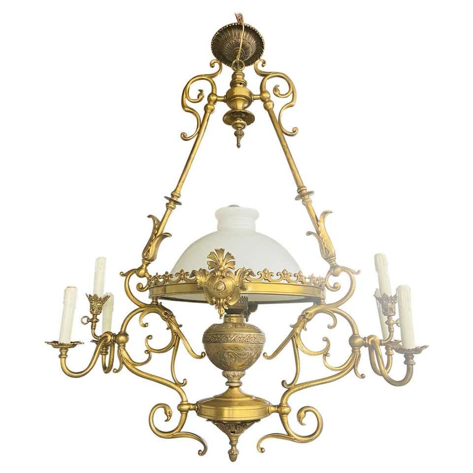 French Victorian Bronze Gas Light Chandelier