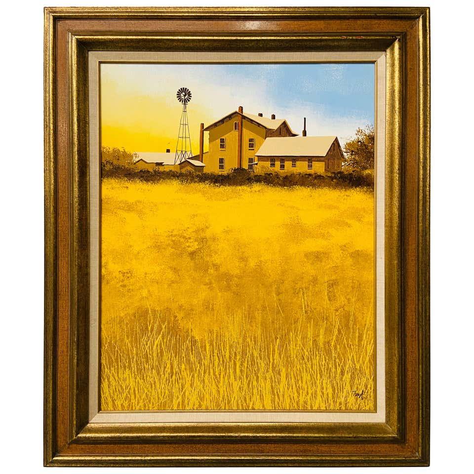 Farm Landscape Oil on Canvas Painting