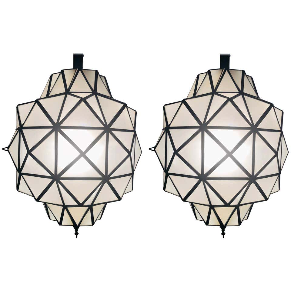 Art Deco While Milk Chandeliers, Pendant or Lanterns in Dome Shape, a Pair