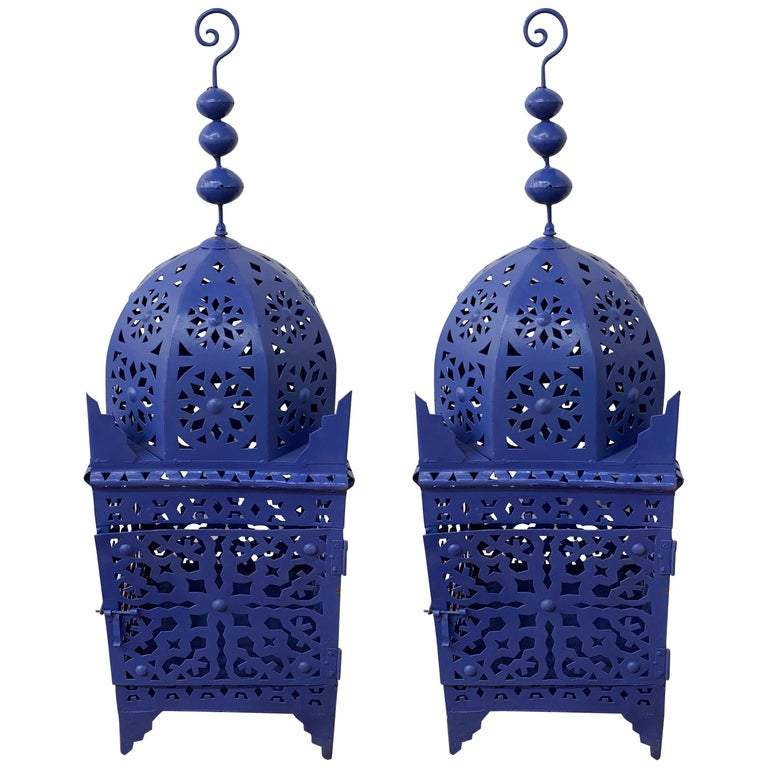 Garden Floor Lantern or Candleholder in Blue, a Pair