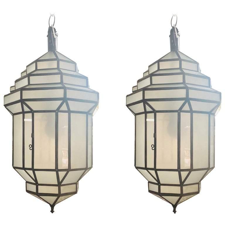Art Deco Style White Milk Glass Handmade Chandelier, Pendant, Lantern, a Pair