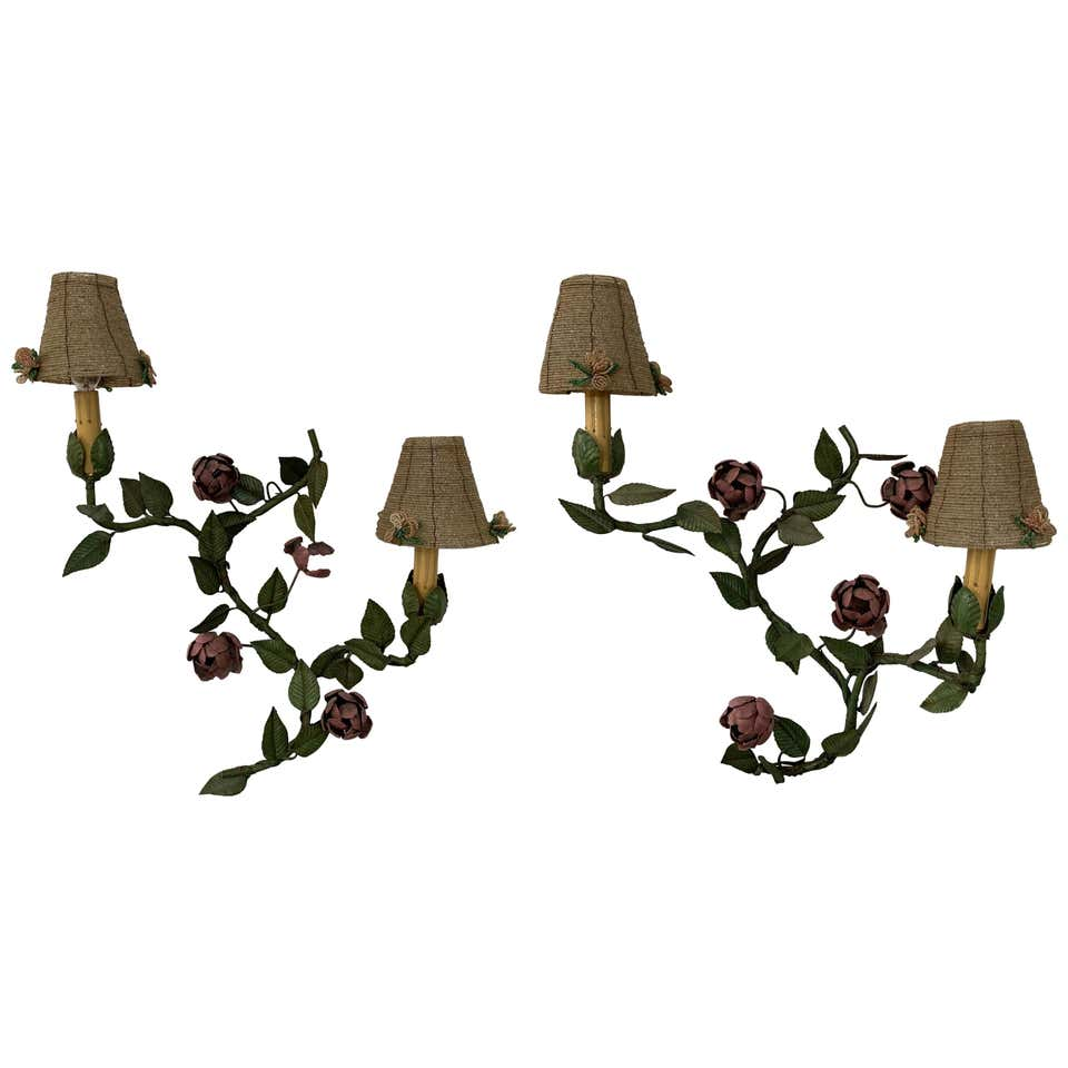 Wrought Iron Floral Wall Sconce with beaded shades, a Pair