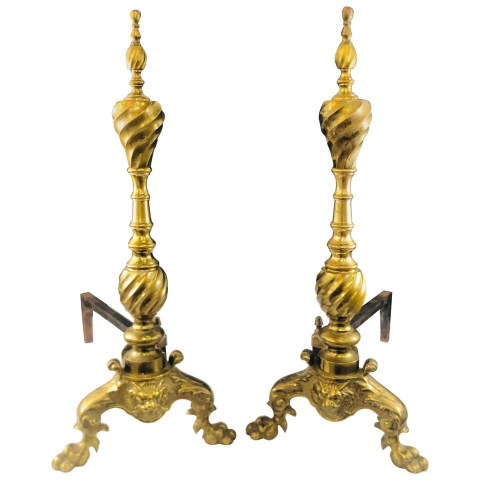 Late 19th Century Large Georgian English Brass Andirons, a Pair