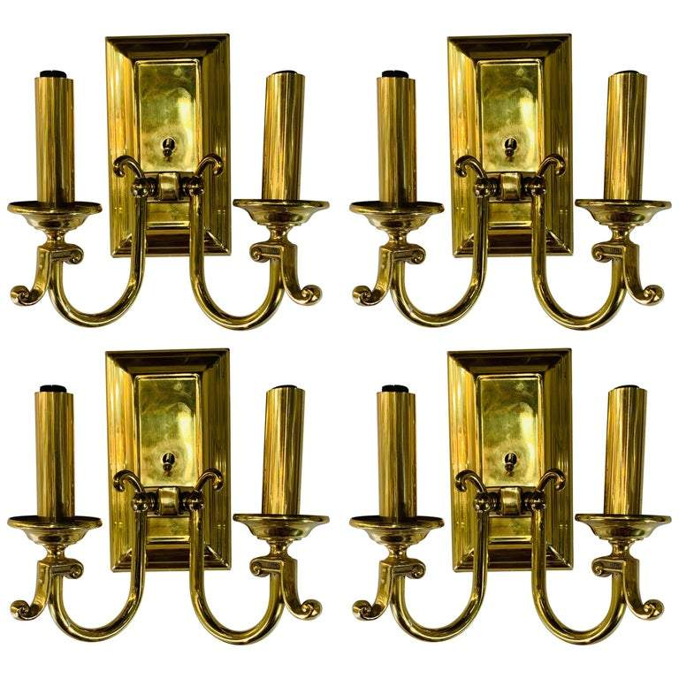 American Federal Style Brass Wall Sconces - Set of 4