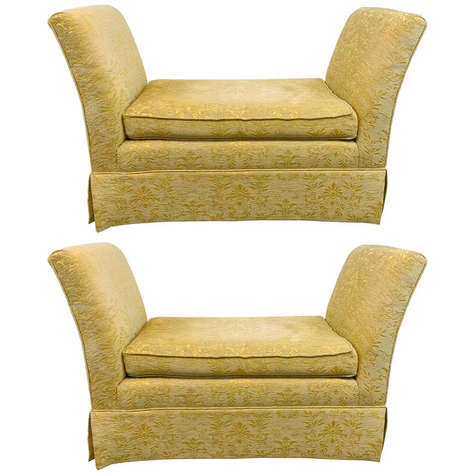 French Art Deco Style Yellow Gold Bench or Window Seat after Dominique, a Pair
