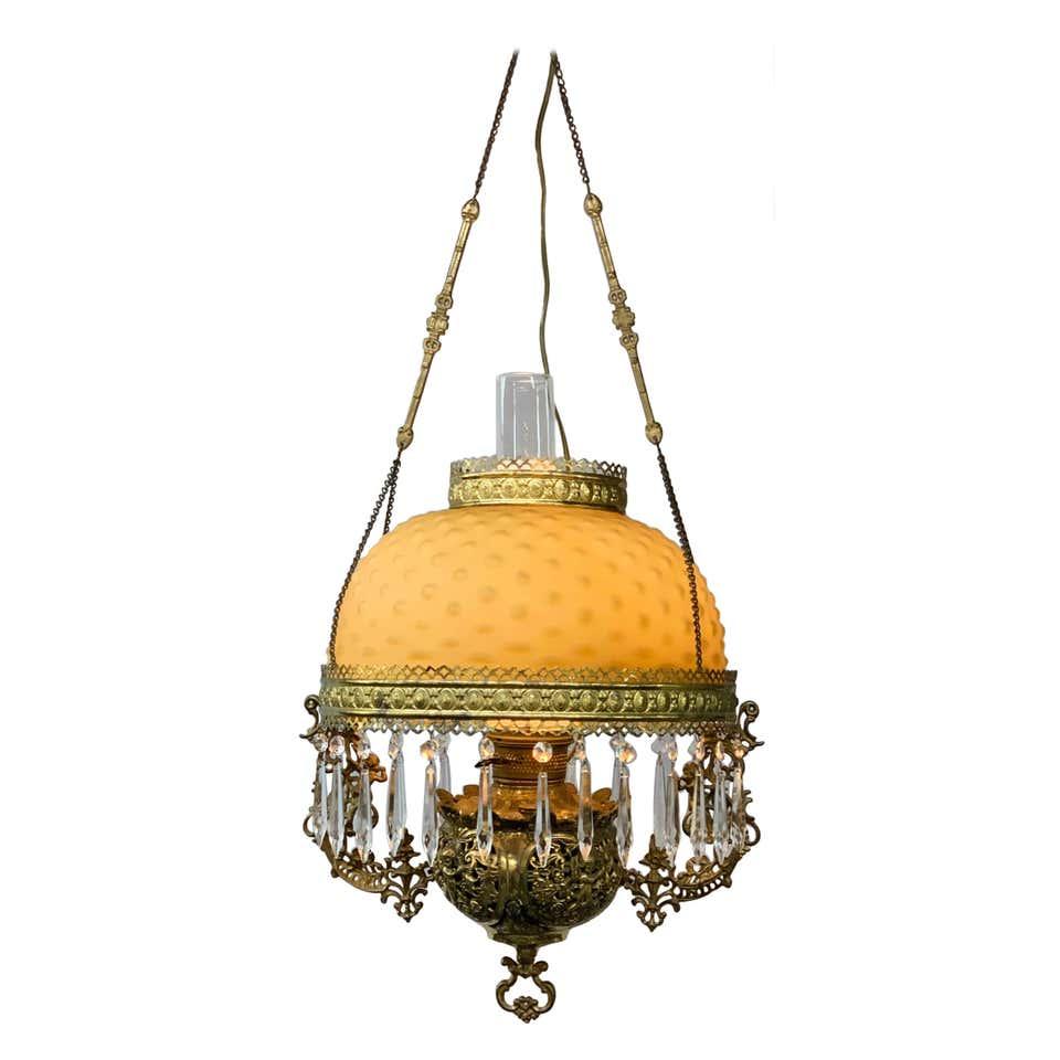Victorian Brass and Opaline Round Shade Pendant or Chandelier