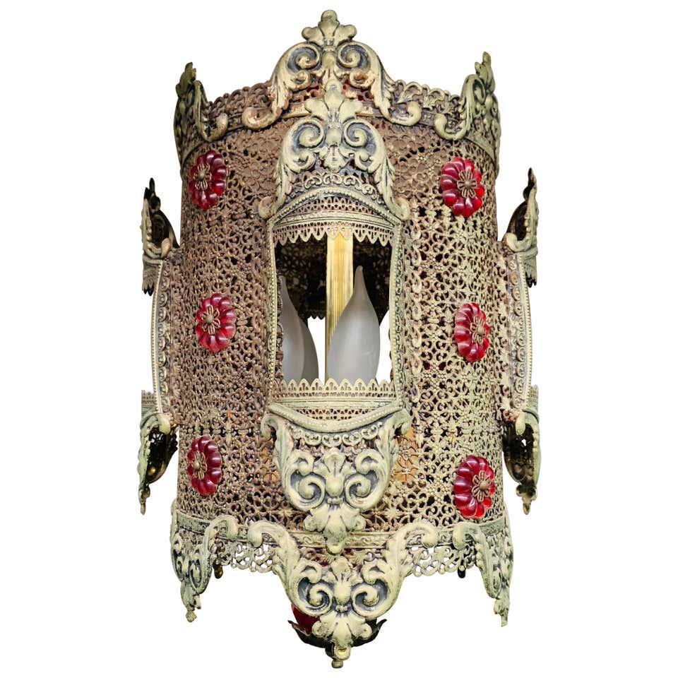 1970s Oriental Style Gilt Metal Lantern or Pendant