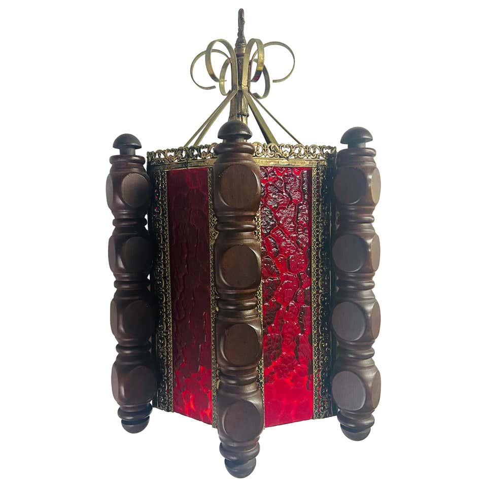 Boho Chic Oriental Hanging Red Glass Lantern or Pendant