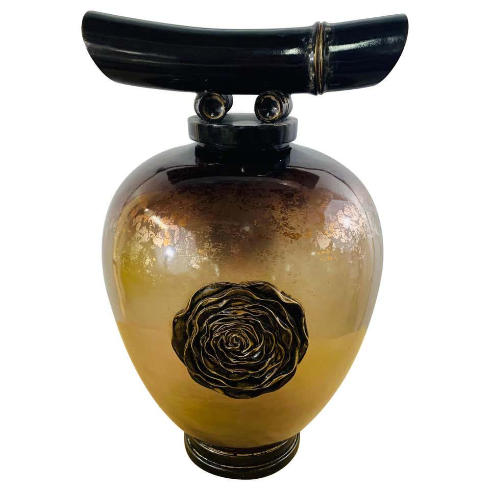 Vintage Asian Amber Glass Vase or Urn