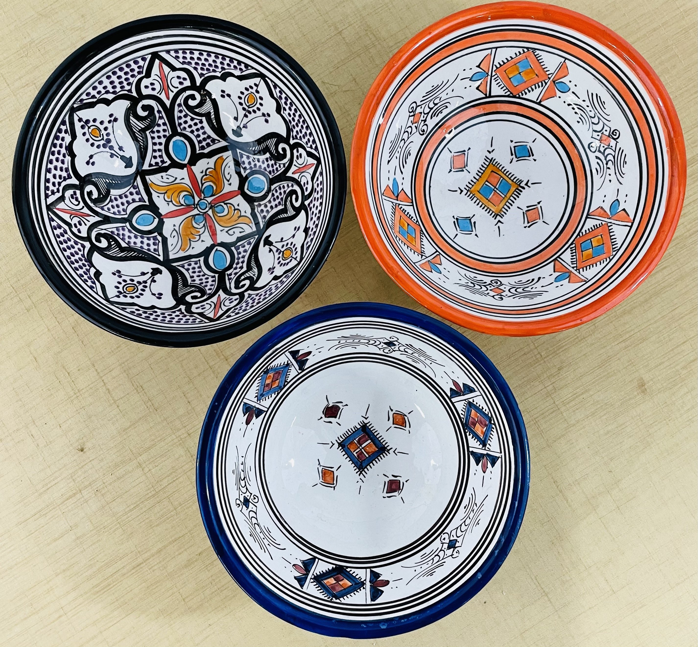 Set of Three Decorative or Serving  Moroccan Bowls