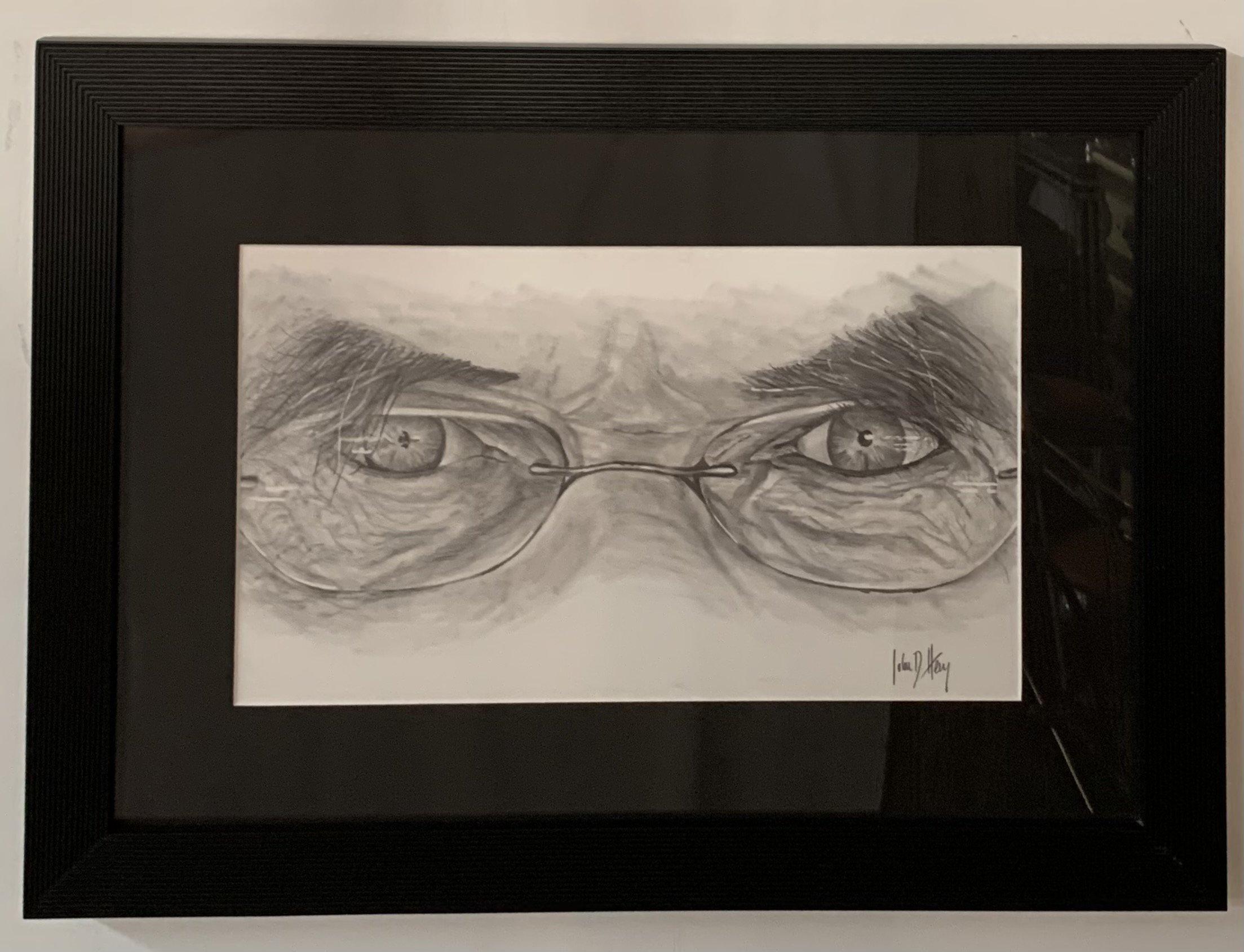 Original Sketch of an Intense Gaze Behind Glasses, Charcoal on Paper Framed