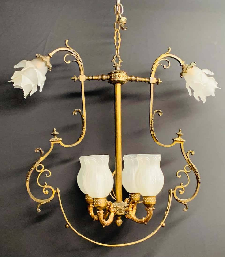 A French Victorian Gasolier Bronze Chandelier or Fixture with Original Shades