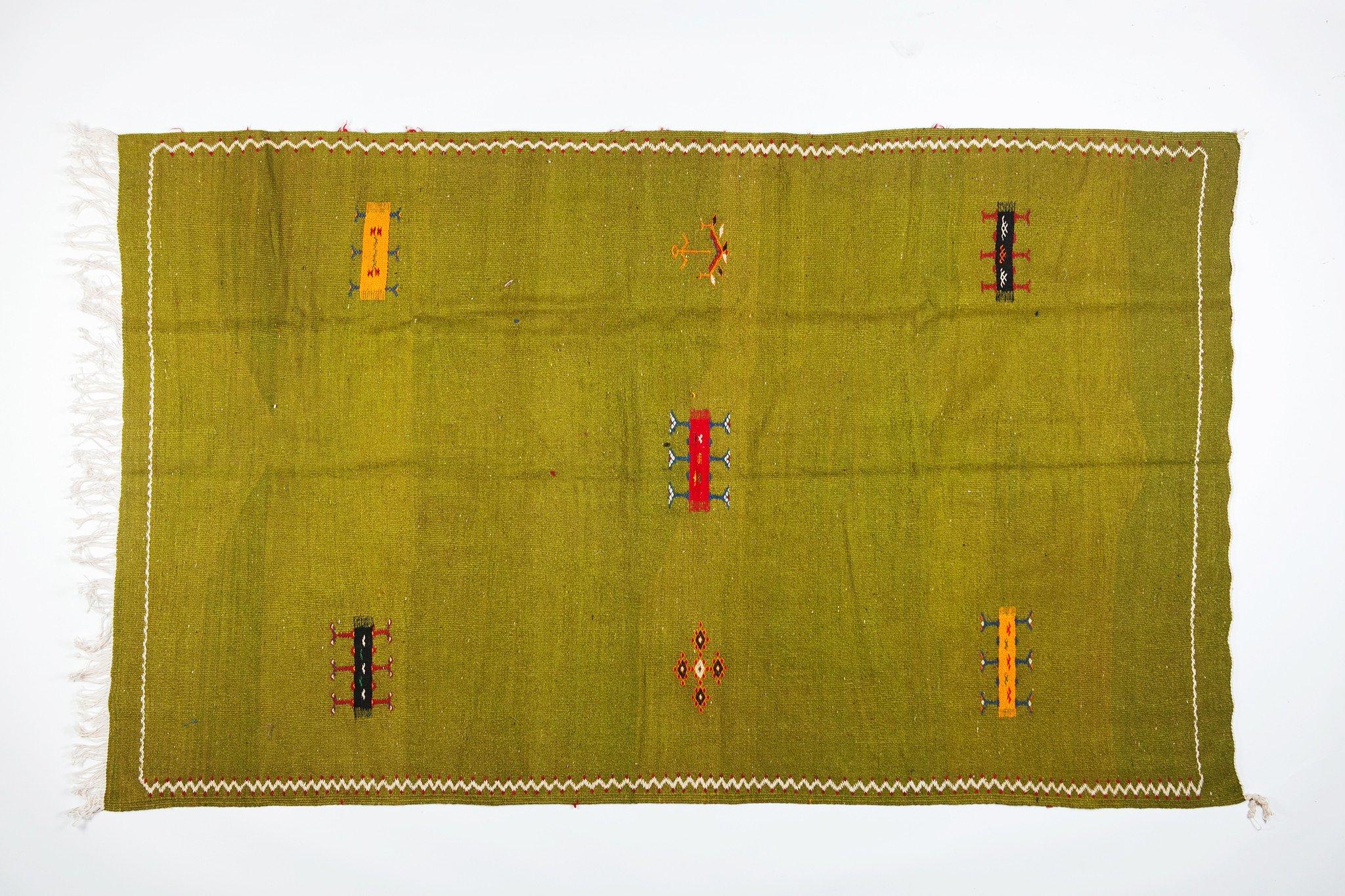 Large Green Handwoven  Moroccan Berber Rug - 100% Wool Organic Dye