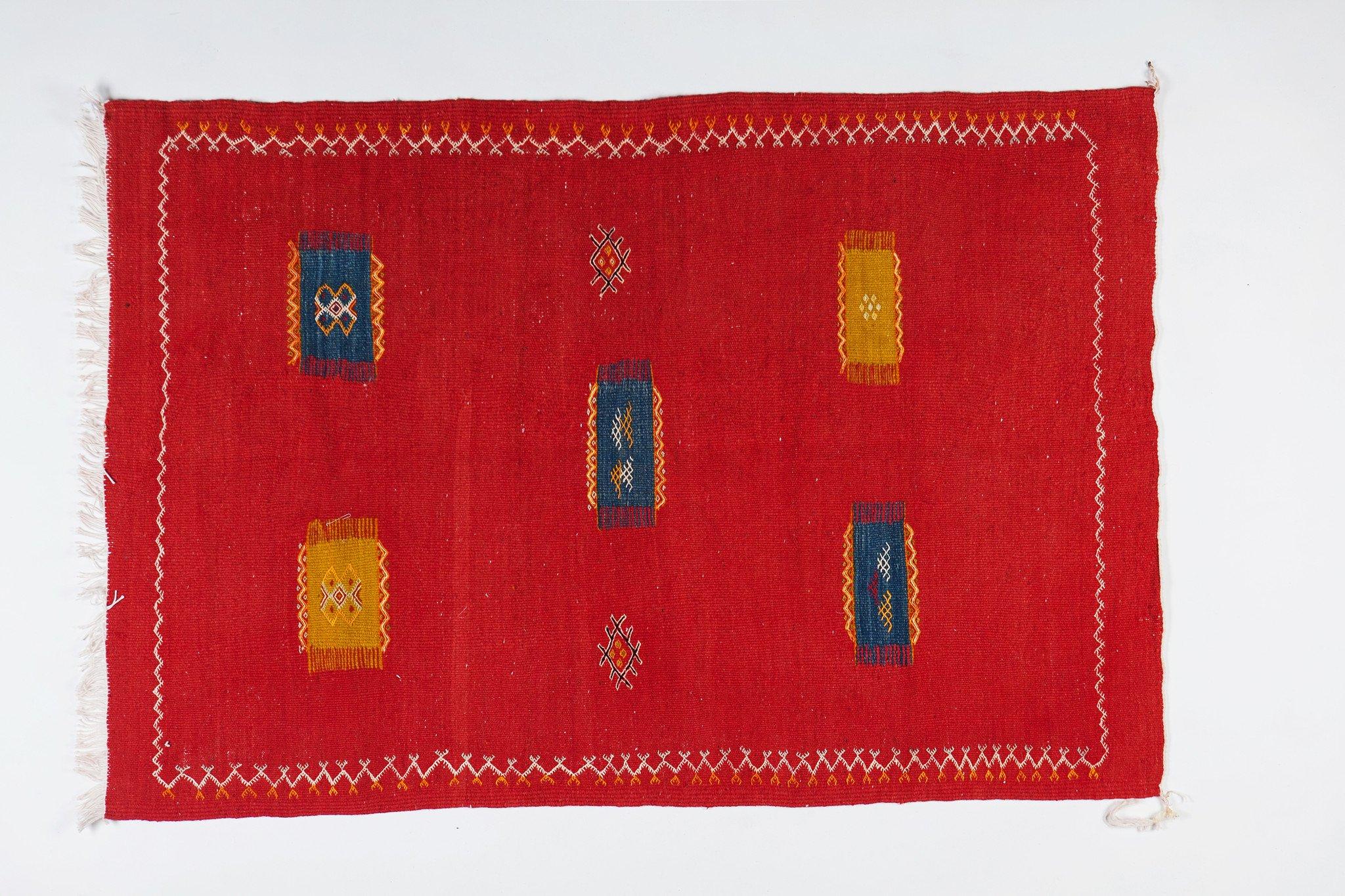 Medium Berber Rug - Tribal Handwoven Wool Organic Red Dye