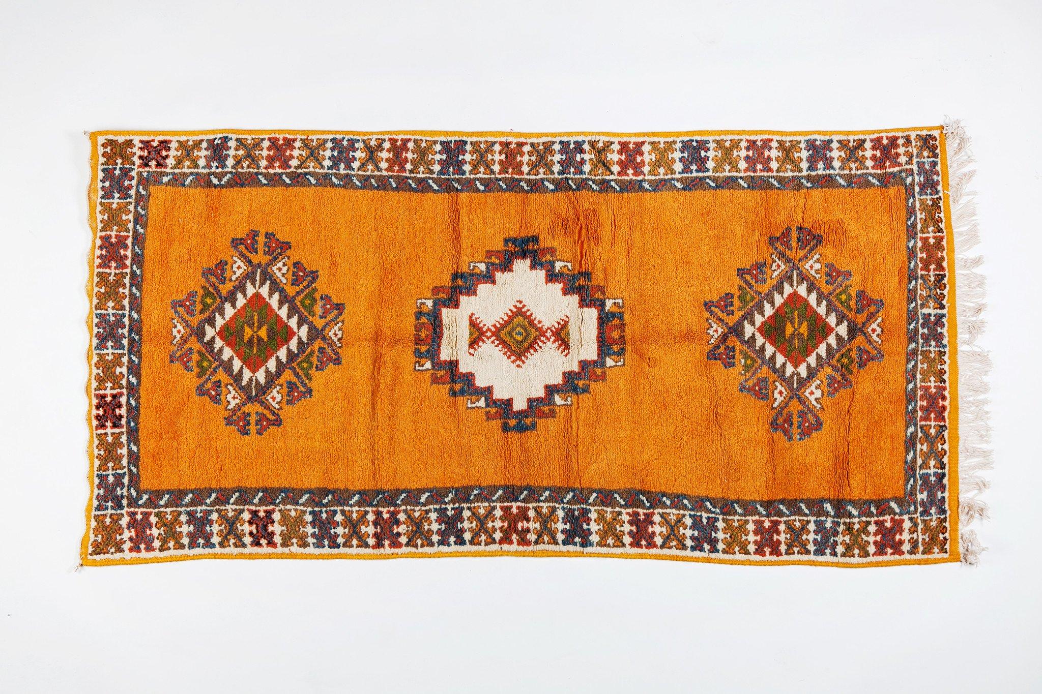 Handwoven Berber  Moroccan Organic Wool and Natural Dye Mustard Rug