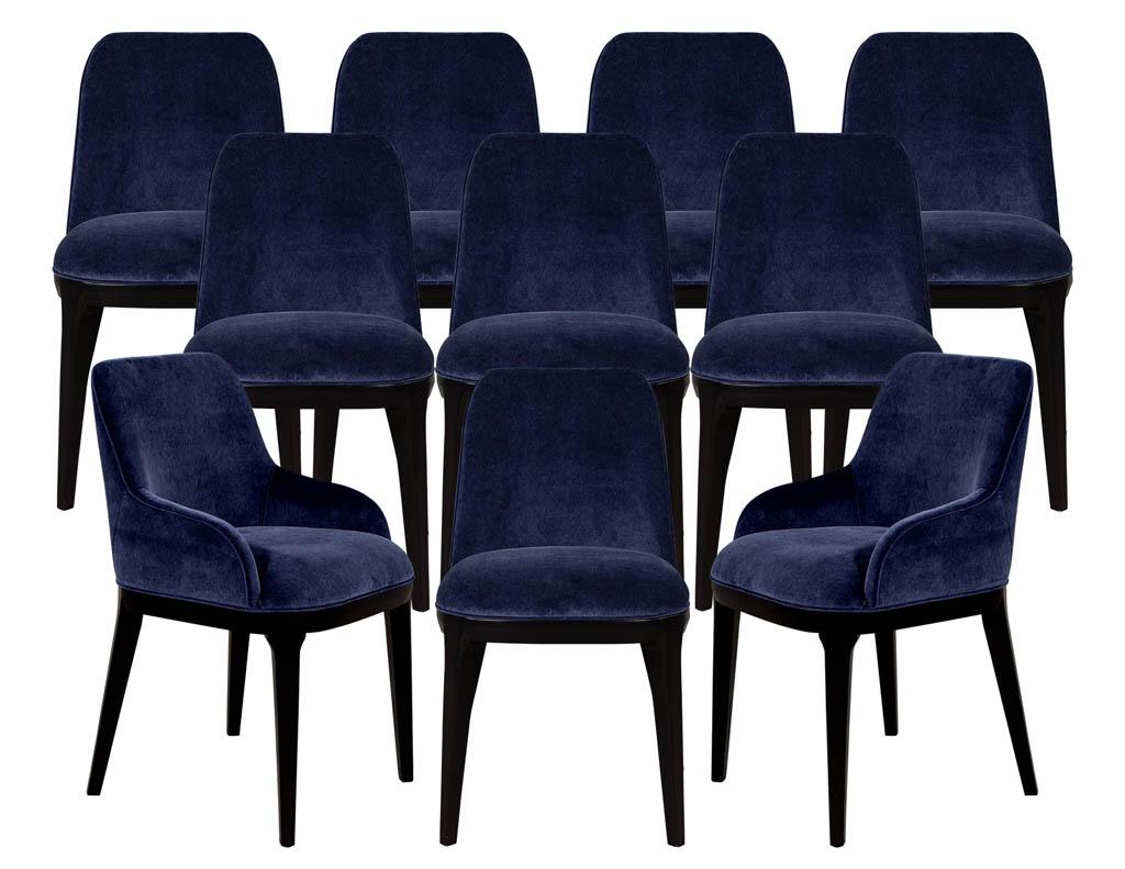 Set of 10 Custom Navy Velvet Modern Dining Chairs